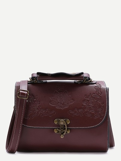 Flower Embossed Swing Hook Flap Bag