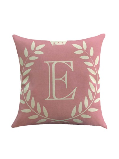Pink Letter Print Pillowcase Cover