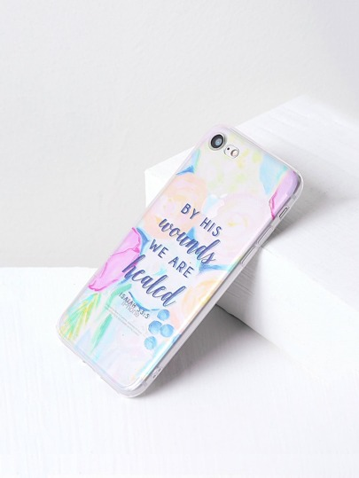 Letter Print Clear iPhone 7 Kasten