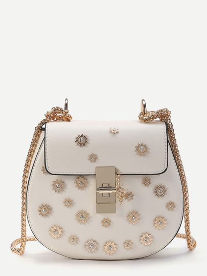 Fleurs de détail Twist Lock PU Crossbody Chain Bag