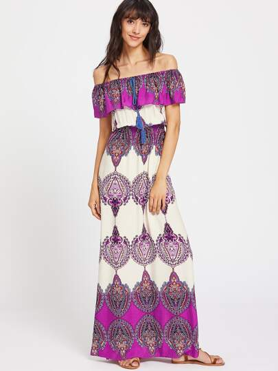 Aztec Print Flounce Layered Neckline Tassel Tie Dress