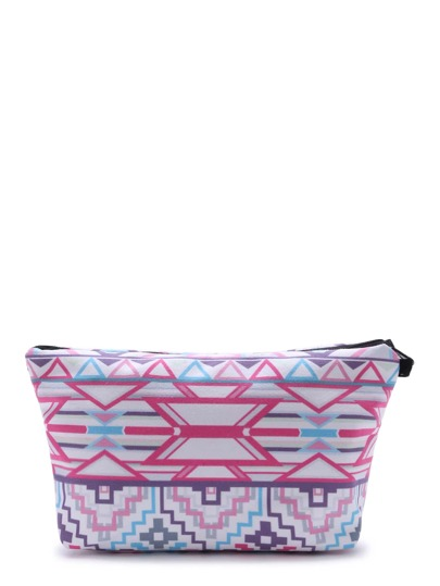 Geometric Print Casual Makeup Bag