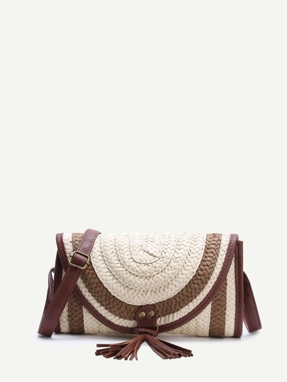 Beige Contrast Trim Straw Shoulder Bag With Tassel