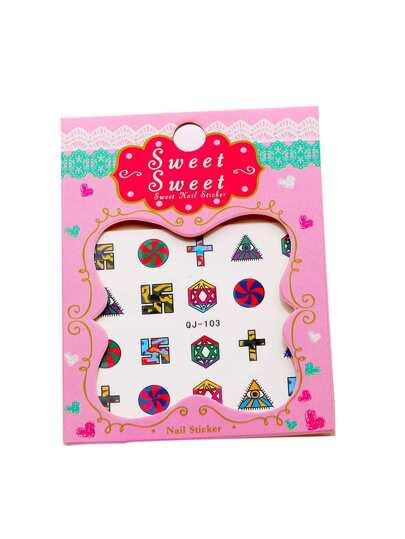 Geometric Pattern Cute Nail Sticker Set