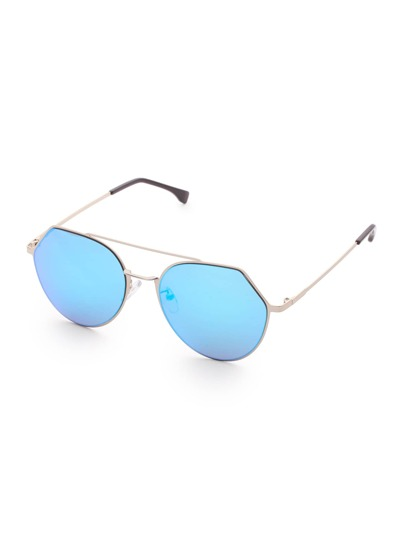 Double Bridge Blue Lens Sunglasses