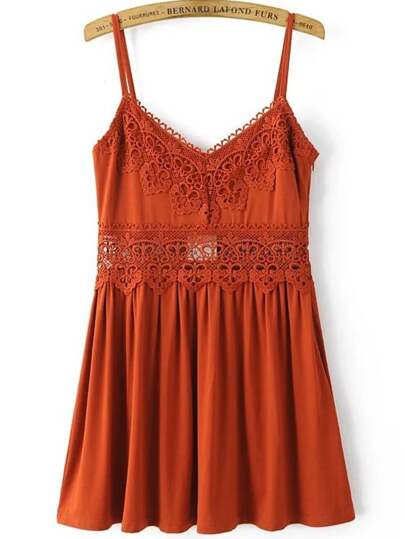 Cami Straps Lace Crochet Pleated Dress