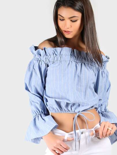 Off Shoulder Striped Sleeved Crop Top BLUE