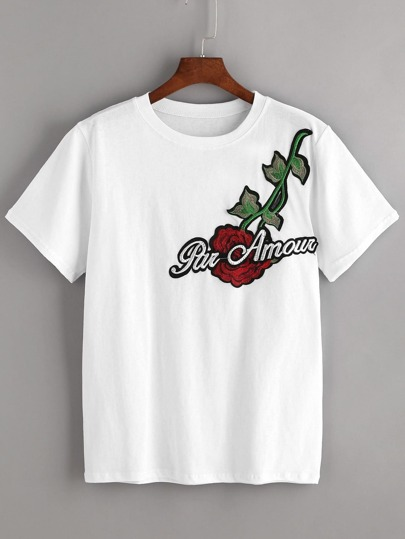 Bianco ricamato Applique T-shirt