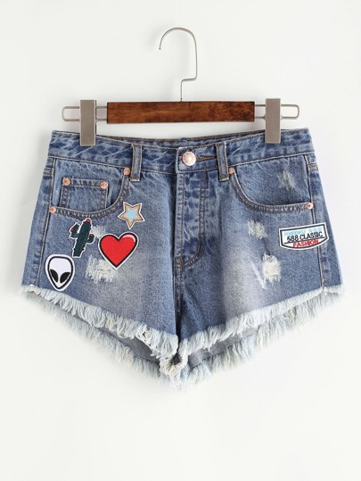 Patch Detail Frayed Hem Denim Shorts