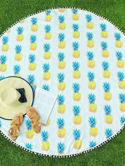 Pineapple Print Pom Pom Trim Circle Beach Blanket