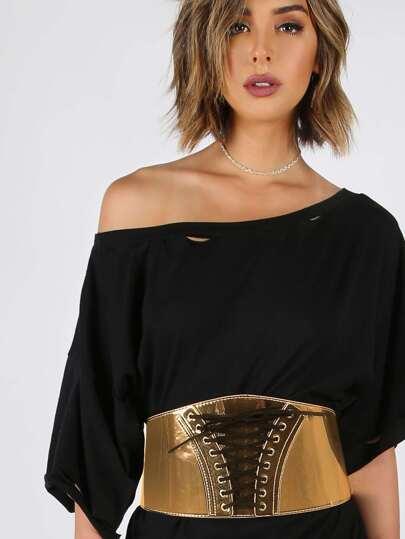 Metallic Lace Up Waist Belt GOLD