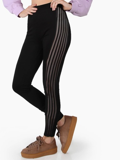 Striped Fishnet Side Skinny Pants