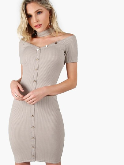 Off Shoulder Ribbed Bodycon Midi Dress CLAY