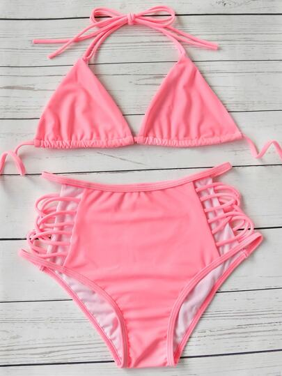 Pink Ladder Cutout Triangle High Waist Bikini Set