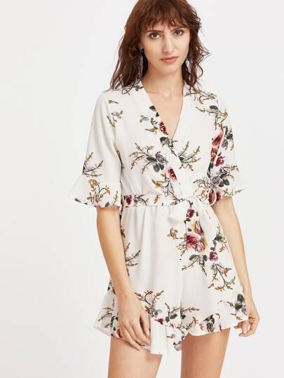 Robe col en V blanche découpée imprimé fleuri avec des plis
