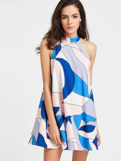 Abstract Print Keyhole Back Swing Dress