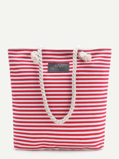Red Striped Stampa Tote Bag