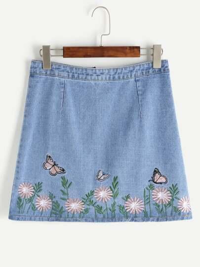 Blue Embroidered Zipper Back Denim Skirt