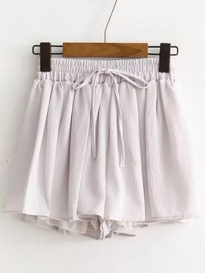 Grey Drawstring Chiffon Shorts