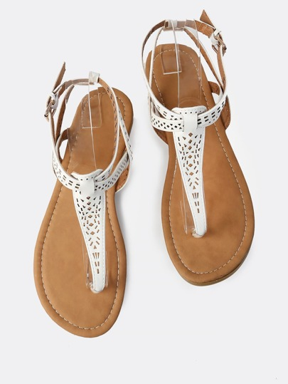 Lazer Cut Geo Thong Sandals WHITE