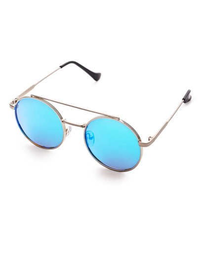 Blue Flat Lens Double Bridge Round Sunglasses