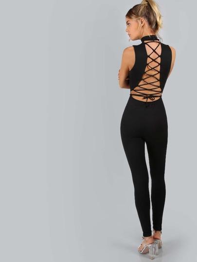 Sleeveless Lace Up Jumpsuit BLACK