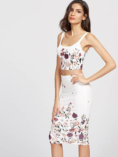 Flower Print Crop Tank Top And Pencil Skirt Set