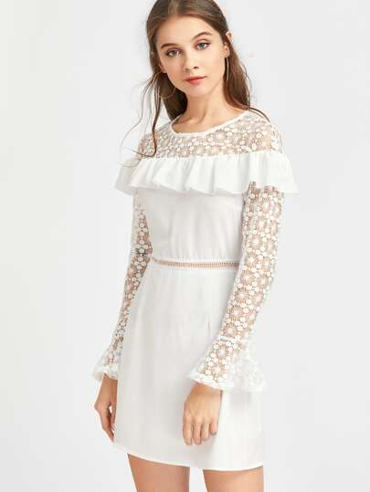Contrast Lace Frill Trim Bell Cuff Dress