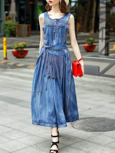 Blue Strap Backless Cross Denim Dress