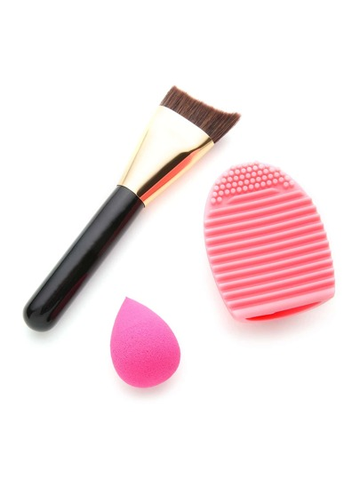 Makeup Brush And Cleaner With Puff