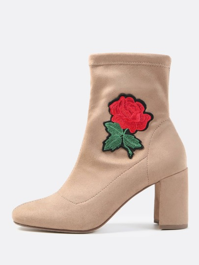 Floral Embroidered Ankle Boots LIGHT TAUPE