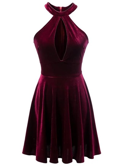 Burgundy Halter Zipper Back Pleated Velvet Dress