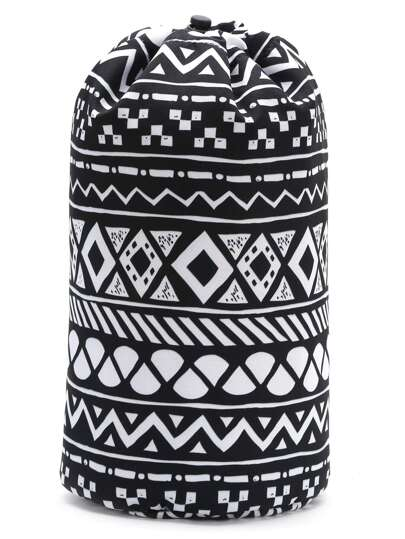 Black Geometric Print Drawstring Bucket Makeup Bag