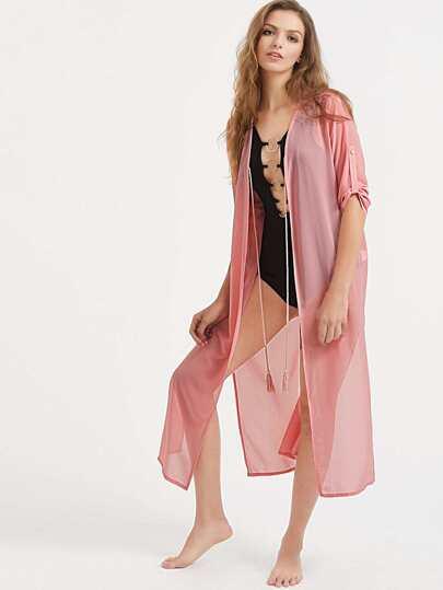 Kimono de mangas remangadas con cordón en la parte delantera con abertura - rosa