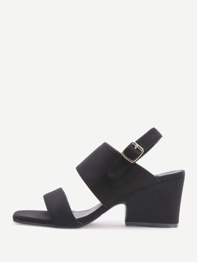 Black Open Toe Chunky Heeled Sandals