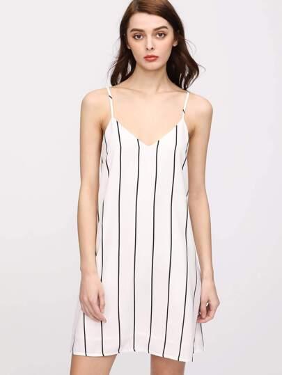 Double V Striped Cami Dress