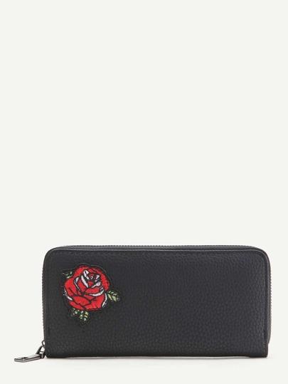 Schwarze Blumenstickerei Strukturierte Brieftasche