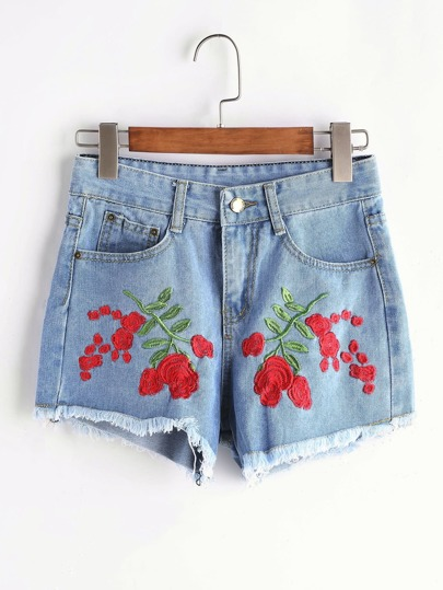 Embroidery Raw Hem Denim Shorts