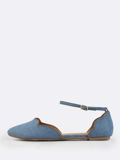 Denim Ankle Flats DENIM