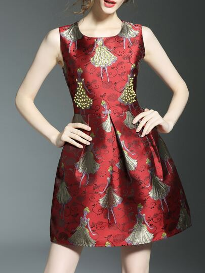 Red Character Jacquard A-Line Dress
