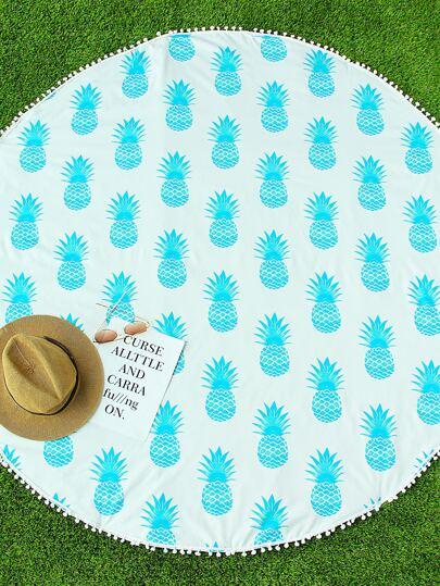 Blaue Ananas-Druck-Pom-Pom-Ordnung-runde Strand-Decke