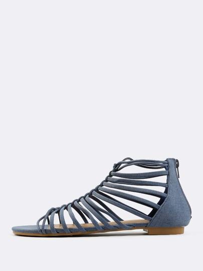 Weave Front Multi Strap Sandals DENIM