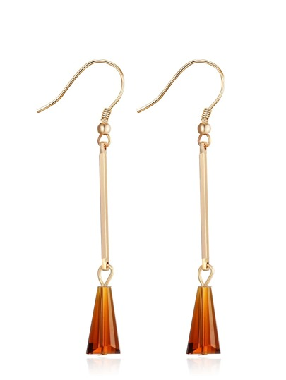 Brown Geometric Shaped Crystal Drop Earrings