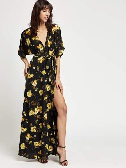 Flower Print Dolman Sleeve Surplice Wrap Dress