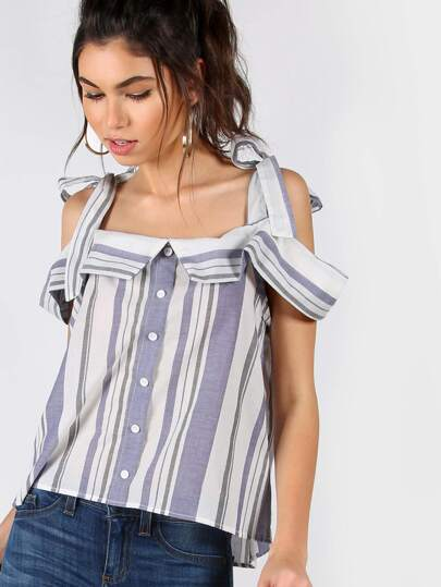 Striped Cold Shoulder Buttoned Blouse IVORY