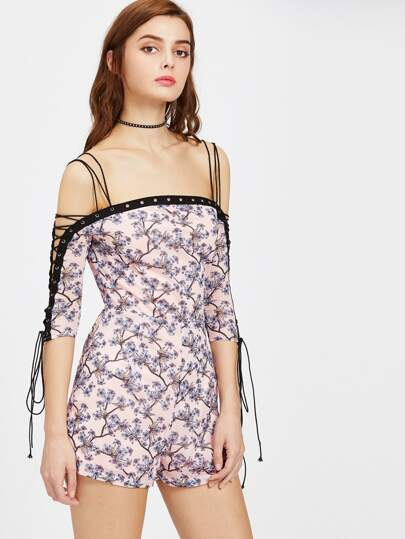 Strappy Cold Shoulder Lace Up Sleeve Blossom Print Playsuit