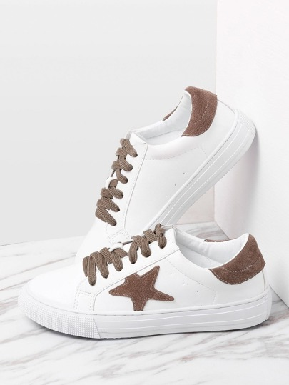 Contrast Star Pattern Lace Up Sneakers