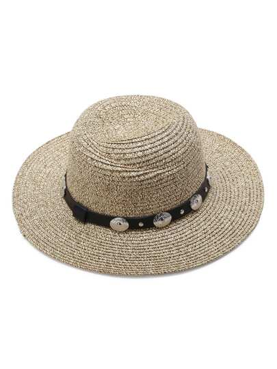 Apricot Straw Hat With Faux Leather Band