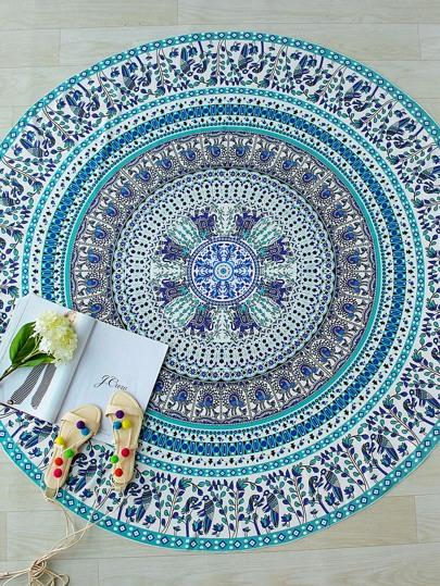 Couverture de plage ronde imprimée tribale Turquoise