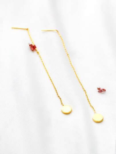 Orecchini catena d'oro rotonda di goccia